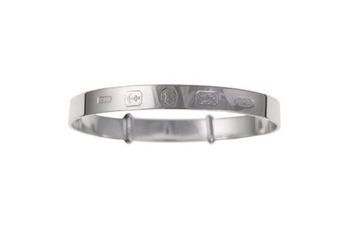 Solid Silver Child's Bangle Age 3 - 7 Year Hallmark Design